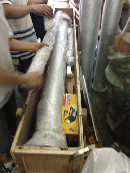 telescopic mast packed in wooden crate