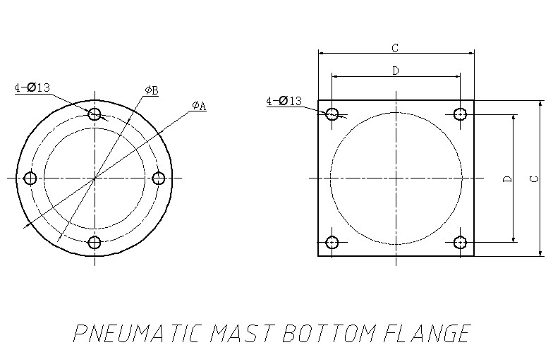 Pneumatic Mast Bottom Flange